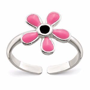 Sterling Silver Pink Enameled Floral Toe Ring